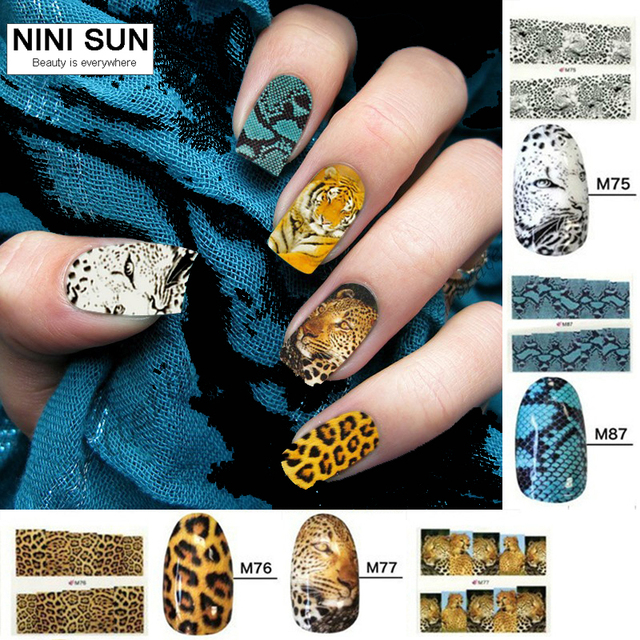 8pcs Water decals transfer sticker nail art Water decal nail sticker  adesivo unha Animal print stickers Nail art decorations a119f239fe2f