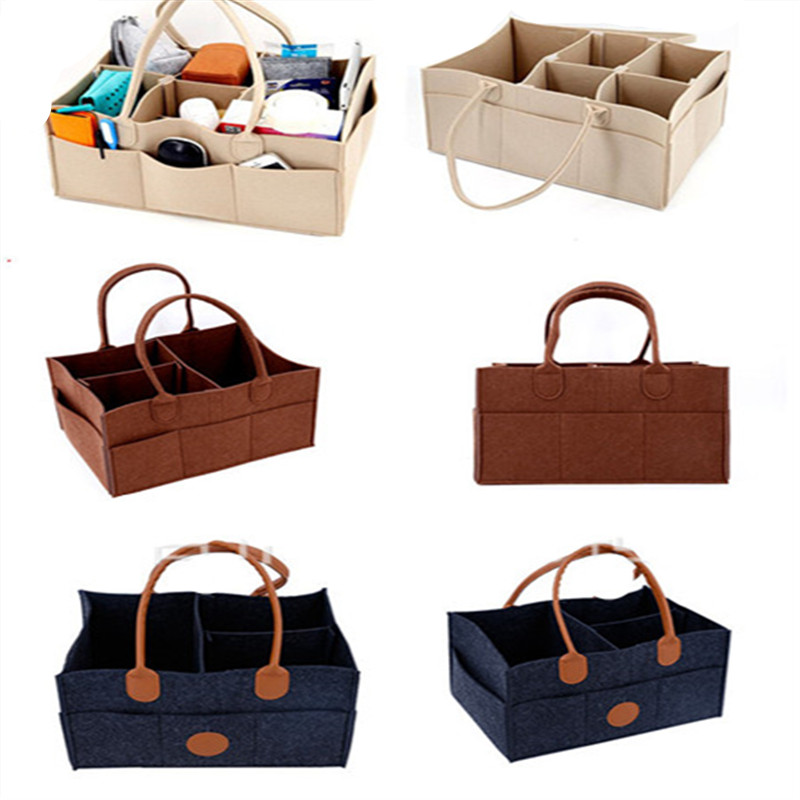 Multifunction Felt Storage Bag High Quality Felt Wet Diaper Folding Portable Cosmetic Bag Women Mom Sundries Tote bag
