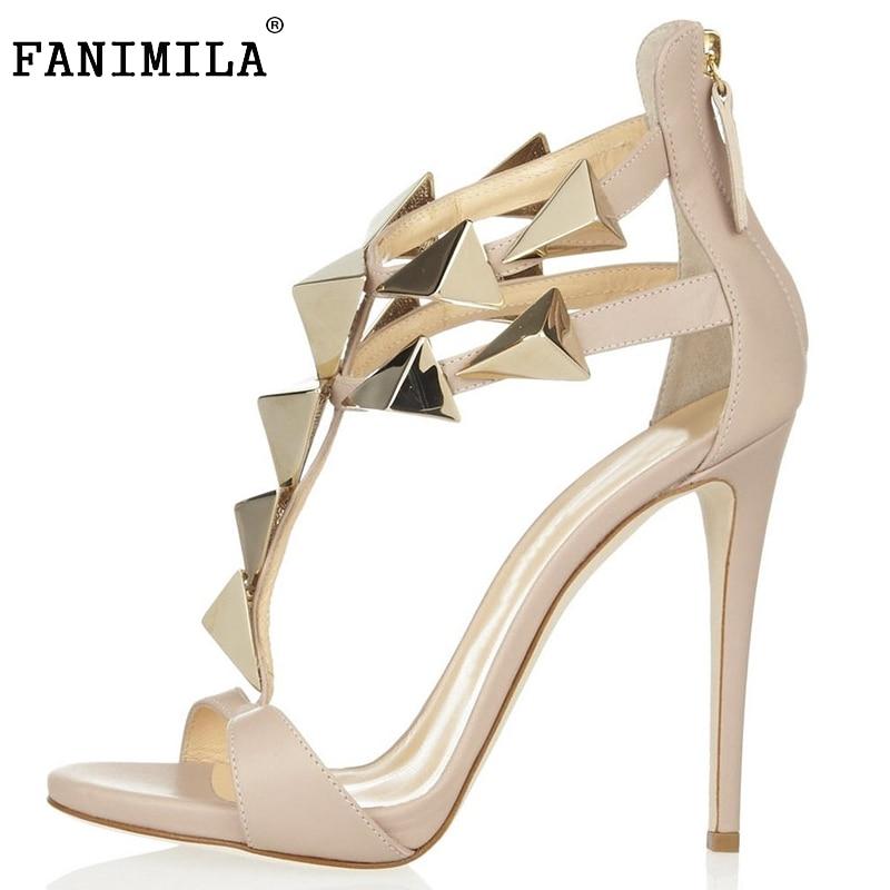 size 35 46 donne tacco alto sandali delle signore di colore nudo sottile tacco alto - Sandale Colore