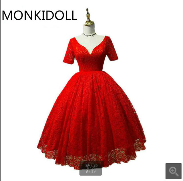 New arrival red lace ball gown prom dress short Sleeve real picture ...
