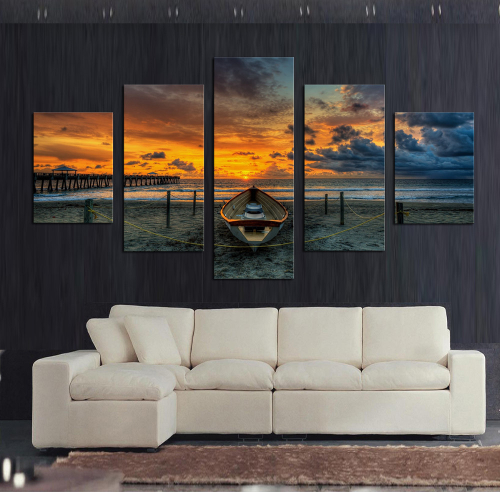 Wall Art Large Canvas Prints   Large Hd Seascape Ship Canvas Print Painting  For Living Room