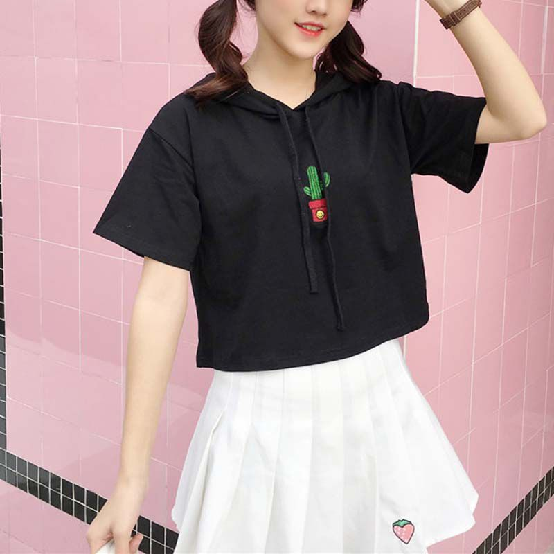 Women Summer Harajuku Tshirt Hooded Embroidered Short Sleeve Casual Short T Shirt Loose Wild Tops camiseta mujer Black White in T Shirts from Women 39 s Clothing