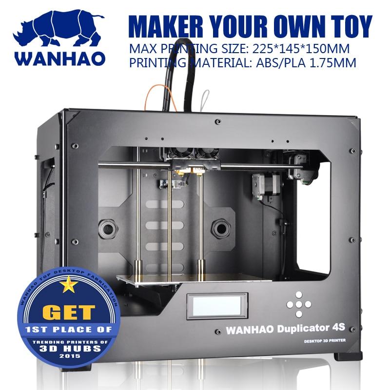 High Qualtiy WANHAO High Precision D4S Industrial 3D Digital Printer Dual extruder free gift 2 roll filament