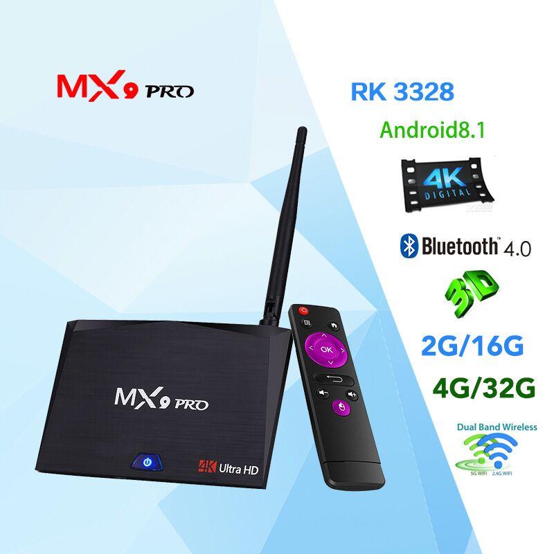 MX9 Pro 4GB 32GB Android 8.1 TV Box RK3328 Quad Core 4K VP9 3D 2.4G 5G WiFi BT4.1 Smart Set top box PK X96 X96 MINI