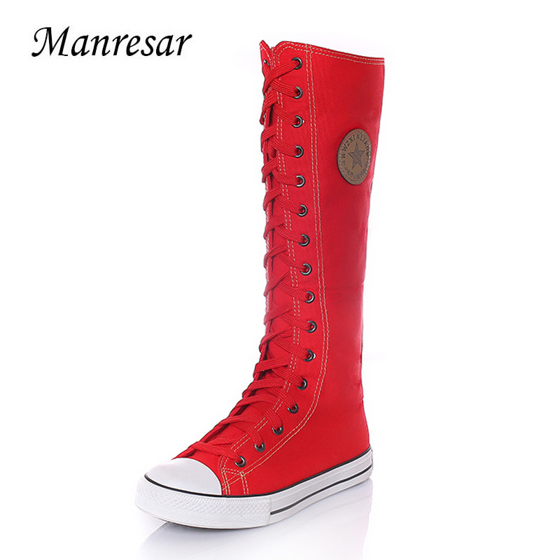Manresar 2017 New Fashion Women's Canvas Boots Lace Zip Knee High Boots White Black Red Women Boots Flats Casual Tall Punk Shoes цена и фото