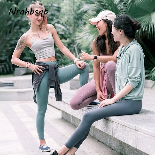 muy bonito estilo de moda de 2019 elegante en estilo NRAHBSQT Color sólido Push Up caderas pantalones de Yoga Leggings para  correr mujeres deportes secado rápido largos Jogging gimnasio delgados