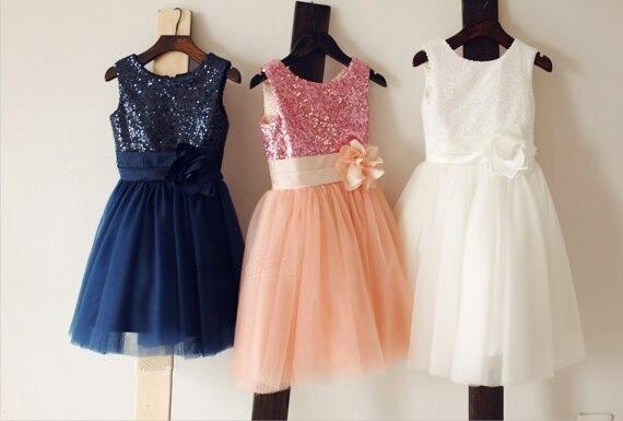 Azul marino / blanco / rosa lentejuelas tul vestido de niña flor ...