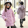 faux fur hooded long winter jackets for girls 2017 kids character pink gray warm coats girl children outerwear jackets clothing