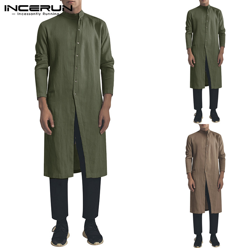 INCERUN Vintage Men Shirt Long Sleeve Cotton Stand Collar Tops Irregular Button Long Shirts Men 2019  Suit Indian Clothes