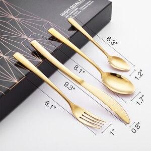 Image 5 - 24 adet altın sofra takımı yemek takımı çatal bıçak takımları yemekleri bıçaklar Forks kaşık batı mutfak yemek takımı 18/10 paslanmaz çelik