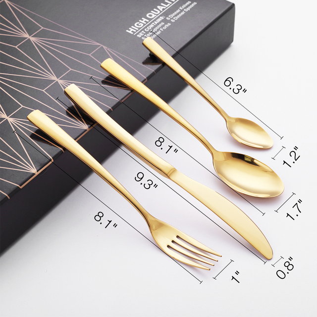 24 Pcs Dinnerware Set Knives Forks Western Kitchen Spoons Stainless Steel