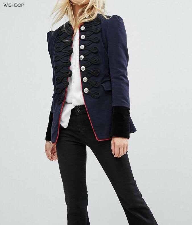 WISHBOP NEW 2017 Woman Navy WOOL Military Jacket Puff shoulders Long Sleeves Stand Collar Front Button UP Flap Pockets