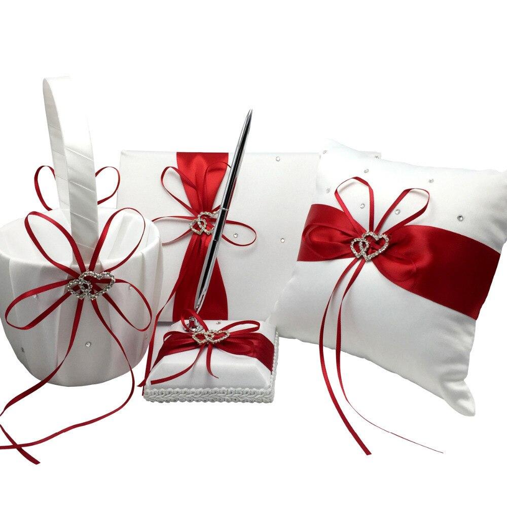 4 pièces/ensemble décoration de mariage rouge nuptiale Satin anneau oreiller + panier de fleurs + livre d'or + ensemble de stylo produits de mariage fournitures