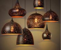 Nordic loft retro cafe bar iron etching lampshade pendant lamp single head bar restaurant industrial wind rust pendant lights