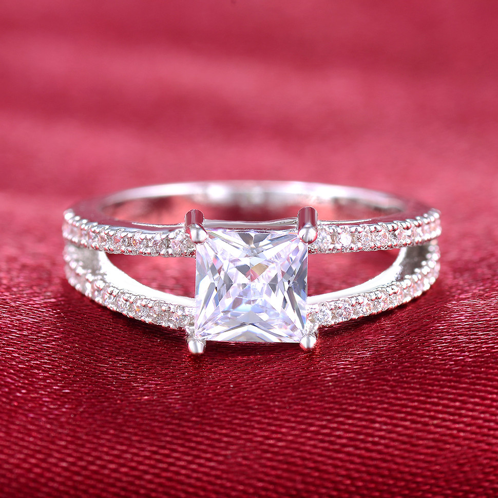 White Gold color Jewelry wedding ring vintage bague luxury ...