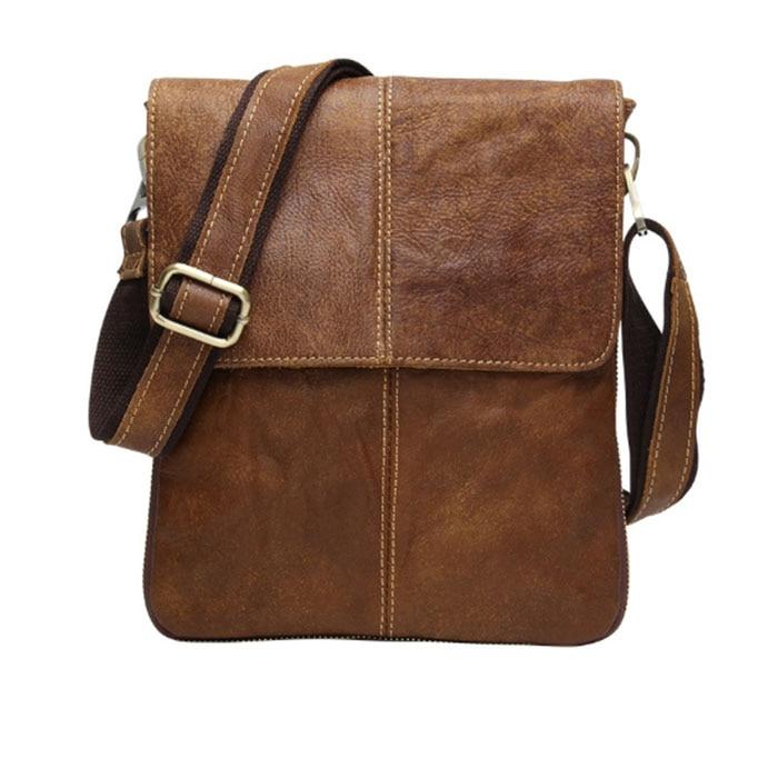 Famous Brand Leather Men Shoulder Bag Casual Business Satchel Mens Messenger Bag Vintage Men\'S Crossbody Bag Brown/Black/Coffee