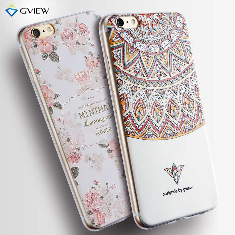 gview cover case for iphone 6 6s 3d embossed tpu soft silicone