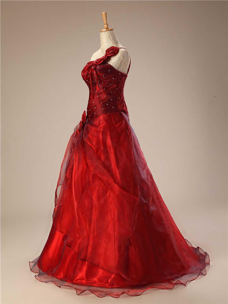 Красный Бальные платья Длинные 2018 бальное платье Цветы из бисера на одно плечо пухлые Vestido дебютантка Сладкие 16 Vestidos De 15 anos