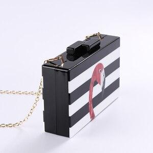 Image 3 - Kadın askılı çanta marka moda cüzdan avrupa lüks çanta zarif siyah beyaz kadın şerit akrilik Flamingo rahat debriyaj