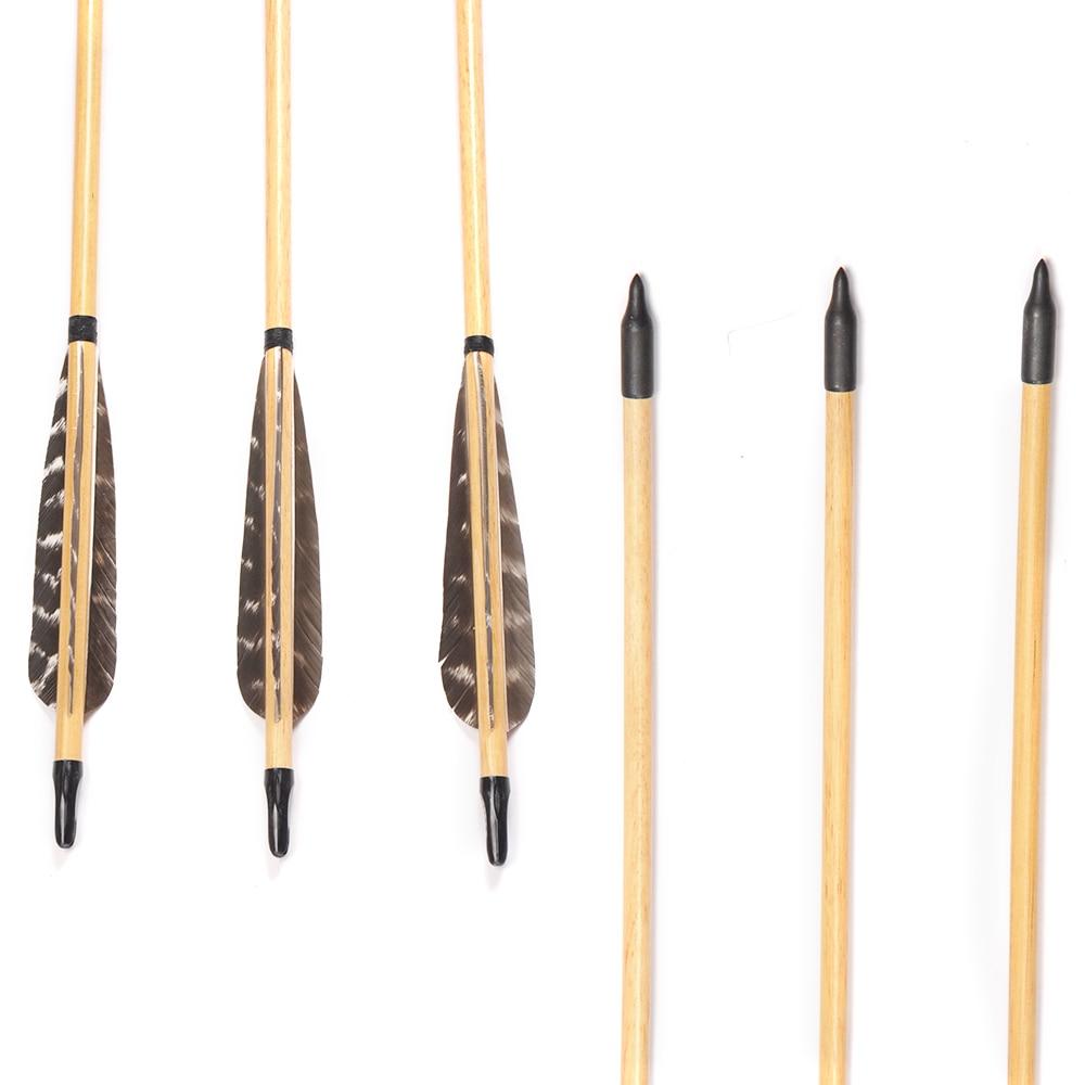 "6//12//24pcs Wooden Arrows Archery Longbow 31/"" Wood Arrow Turkeys Feather 80cm"