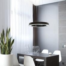 Modern LED Crystal pendant lights living dining room suspension luminaire suspendu led 40cm ring lamp fixture Black/Sliver недорого