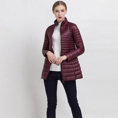 90% белый утиный пух пальто ультра светильник тонкий длинный пуховик портативное Женское зимнее пальто размера плюс Chaquetas Mujer - Цвет: Wine red