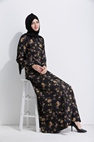 MZ Garment Woman Summer Long Sleeve Abaya Islamic Female Muslim Apparel Ladies Printing Kaftan Long Women