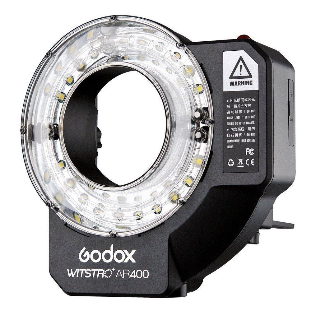 Godox Witstro AR400 400 W Li-Ion Ring Flash Speedlite + LED Luce VideoGodox Witstro AR400 400 W Li-Ion Ring Flash Speedlite + LED Luce Video