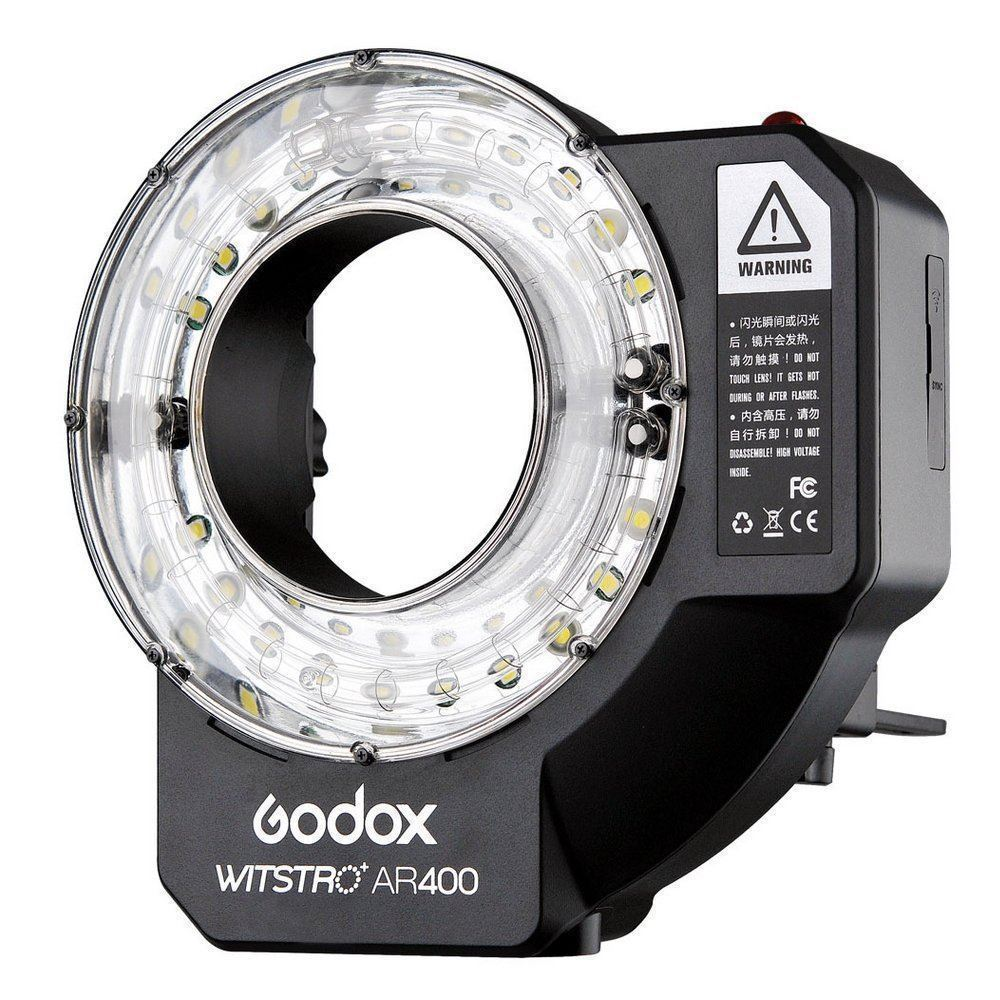 Godox Witstro AR400 400W Li-ion Battery Ring Flash Speedlite + LED Video Light godox ar400 400w li ion battery lcd panel powerful macro led ring flash speedlite video light kit with free dhl ems