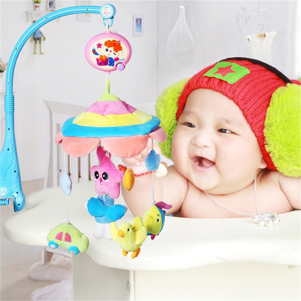 Baby Musical Crib Mobile Toys Bed Bell Rattle Hanging Rotating Bracket Project Toys Christening Gift for 0-12 Months Newborn