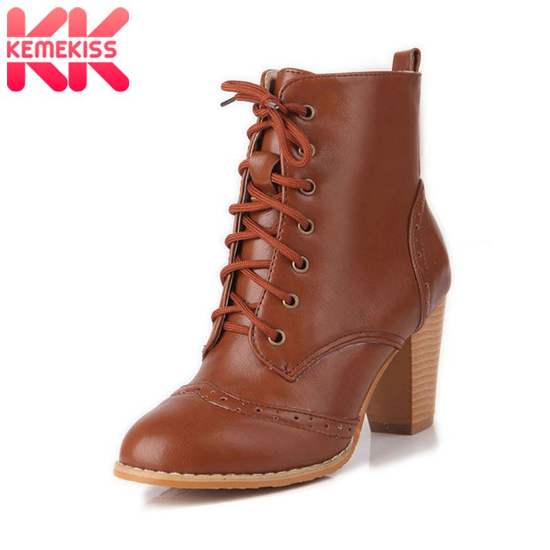 c3d777d2fb KemeKiss Frauen Platz High Heel Halb Kurze Stiefel Herbst Winter Botas  Nieten Schnalle Schuhe Warm Boot Schuhe Größe 34- 48