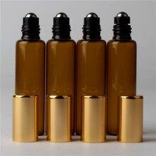100ชิ้นx 10มิลลิลิตรสีเหลืองอำพันกลิ้งบนRollerสำหรับน้ำมันหอมระเหยโรลออรีฟิลน้ำหอมขวดระงับกลิ่นกายภาชนะ