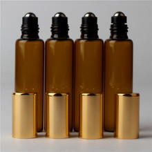 100pcs x 10ml Amber Roll On Roller Bottles For Essential Oils Roll on Refillable Perfume Bottle Deodorant Containers