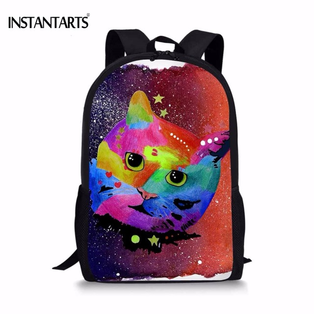 86a1ca92e1f6 INSTANTARTS Funny Galaxy Painting Colourful Cat Printed School Bags for  Primary School Students Book Shoulder Bag Boys Backpacks-in School Bags  from ...