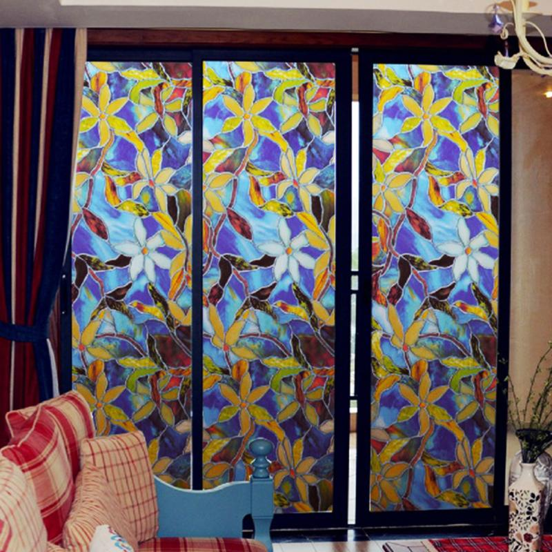 Bathroom Window Stick 45cmx1m Sunscreen Waterproof Static Cling Cover Stained Flower Privacy Gl Film Adhesive Sticker In Decorative Films From
