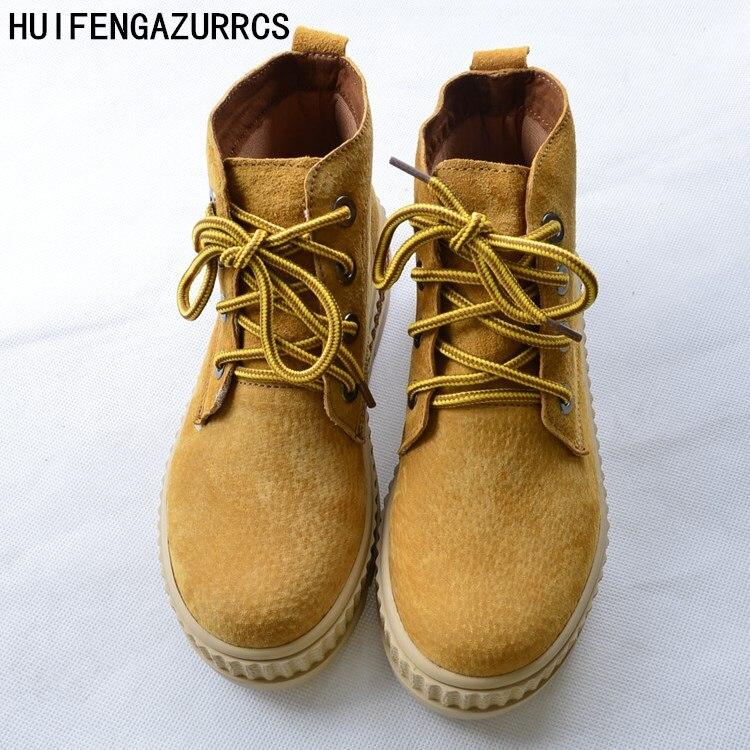 HUIFENGAZURRCS nuevos zapatos planos cómodos de plataforma, zapatos planos de chica mori de arte retro, botas hechas a mano, 2 colores-in Botas hasta el tobillo from zapatos    1