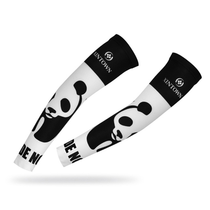 XINTOWN Cycling Oversleeves Panda Bike Riding Sunscreen Sleeve Outdoor Sports Accessories UV Arm Seamless Bicycle Sleeves