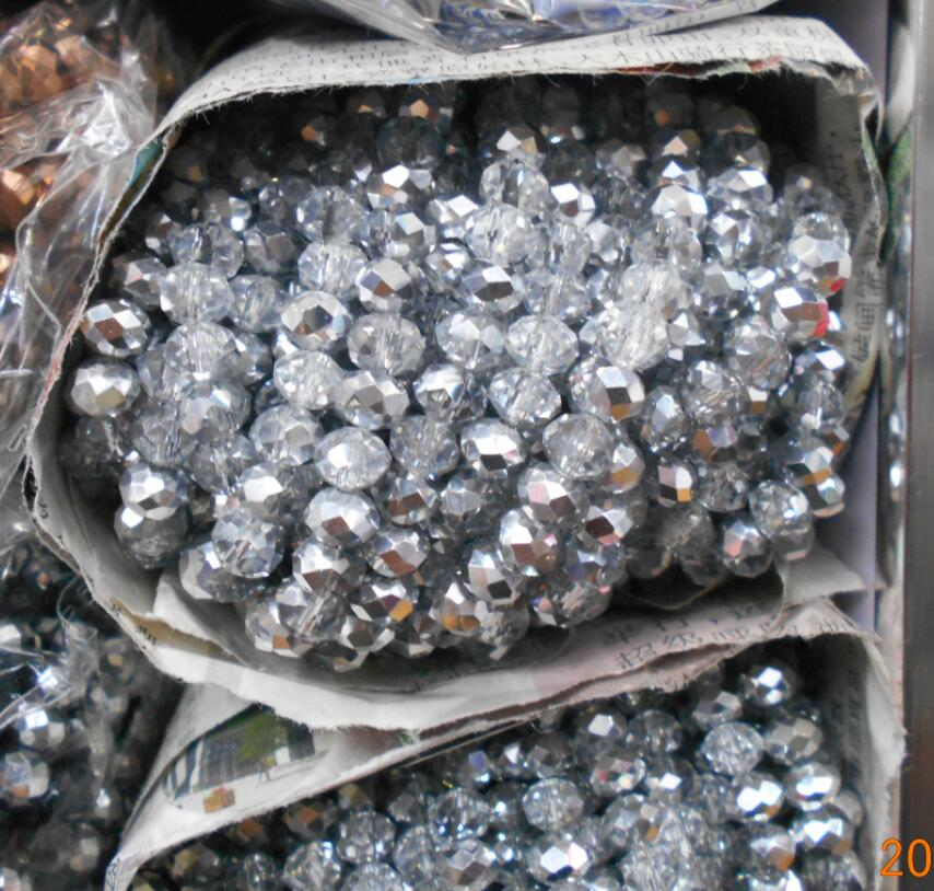 Silver White Color 3 4mm 145pcs Rondelle Austria faceted Crystal Glass Beads Loose Spacer Round Beads