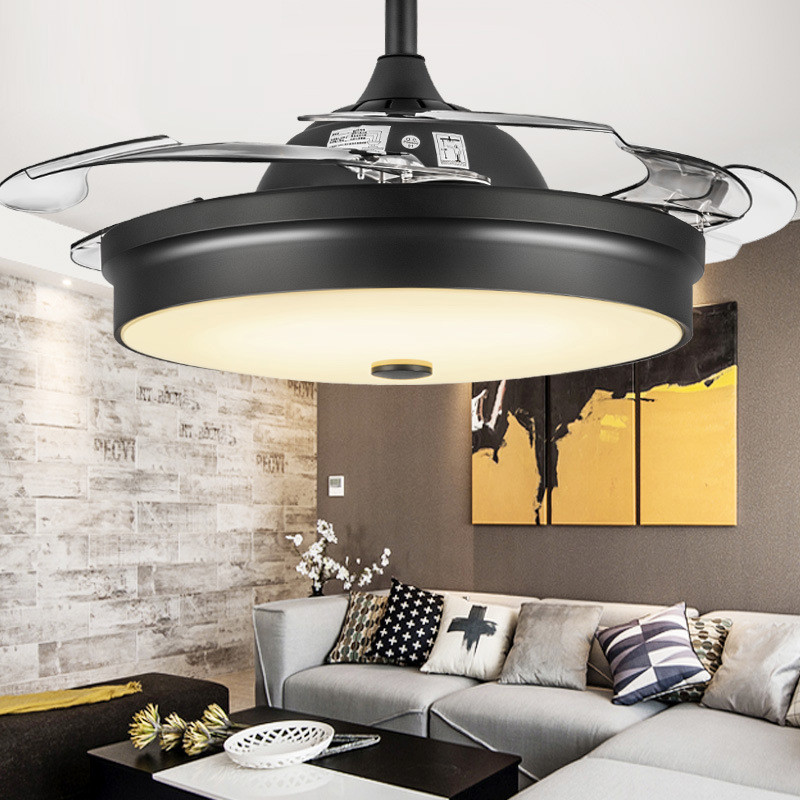 36/42 Inch Modern Super Thin Invisible Restaurant Ceiling Fan Living Room Dining Room Bedroom Kitchen Dimmable LED Fan Lamp