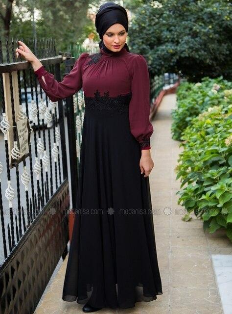 Y177 noir et violet à manches longues Applique musulmane Abaya Kaftan turque jilbab robe 2015