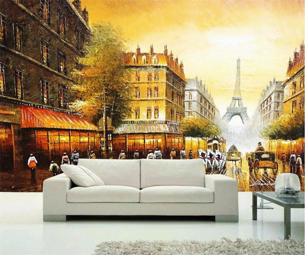 US $8 4 OFF Beibehang Custom Wallpaper 3D Mural Eiffel Tower Golden Paris European Luxury Living Room Backdrop Restaurant 3d Wallpaper Large