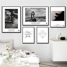 Nordic Canvas Painting Home Decor Black and White Scenery Poster Wall Art Figure Letter Print Bedroom