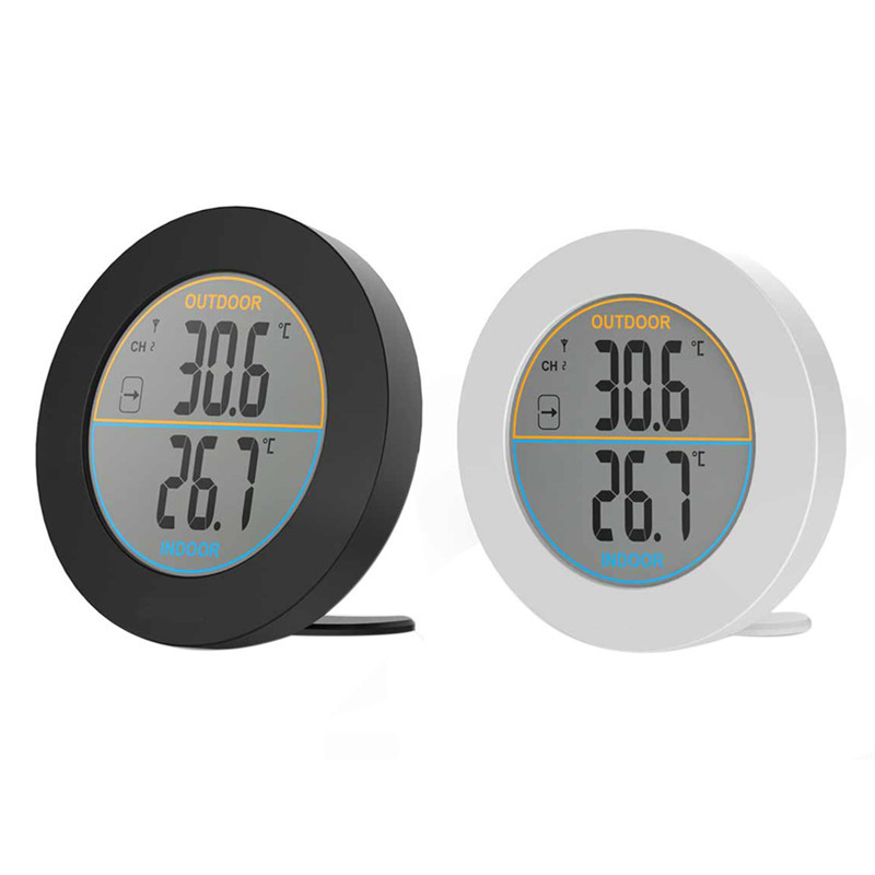 Circular Touch Screen Electronic Digital Temperature Humidity Meter Weather Station Indoor Outdoor temperature Tester Backlight