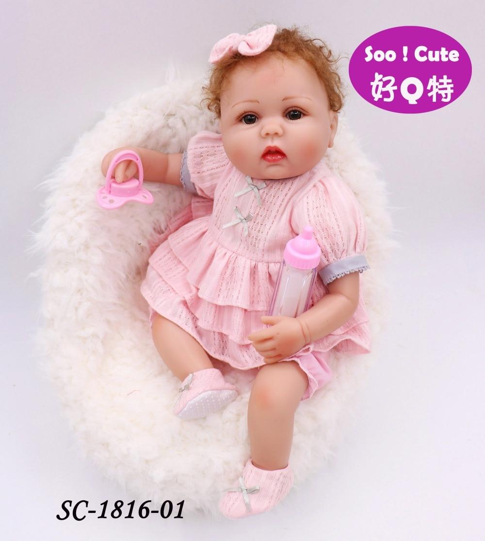 Cute Blonde Hair 16inch Beautiful Dress American Girls Dolls Princess Adora Reborn Bebe Silicone Reborn Dolls Kids Toys pullip