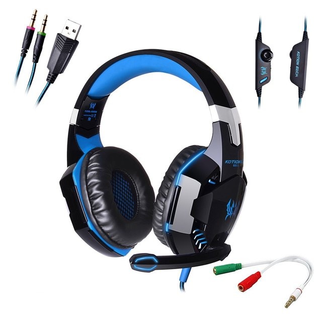 LED Stereo PC Headphone Microphone Stereo Bass LED Light Pro Game Gaming Headset 3.5mm