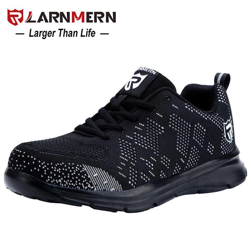 LARNMERN น้ำหนักเบา Breathable ผู้ชายรองเท้าเพื่อความปลอดภัยรองเท้าทำงานสำหรับชาย Anti-smashing การก่อสร้างรองเท้าผ้าใบสะท้อนแสง