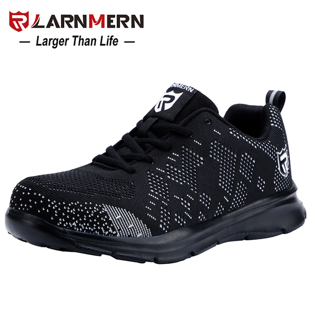LARNMERN Lightweight Breathable Men Safety Shoes Steel Toe Work Shoes For Men Anti smashing Construction