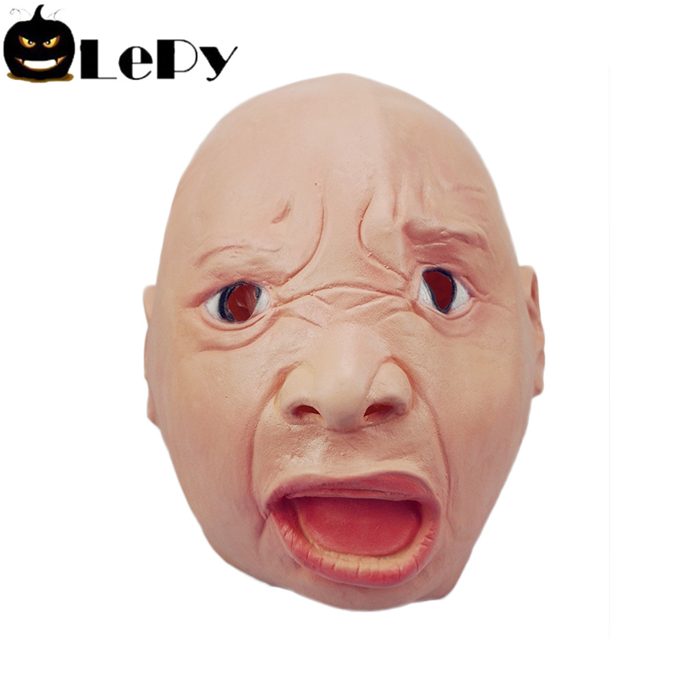 LePy Cry Baby Mask Latex Shock Mask Masquerade Fun Halloween Toy Accessory Creepy Full Face Horror Mask Party Prank Toy