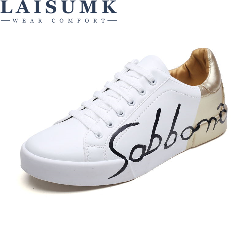 LAISUMK Big Size Spring Mens Fashion Sneakers Lovers Casual Graffiti Low Top Shoes Lace Up Lightweight Breathable Shoes in Men 39 s Casual Shoes from Shoes