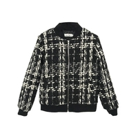 New autumn and winter women's houndstooth baseball uniform short coat plus cotton thick woolen coat
